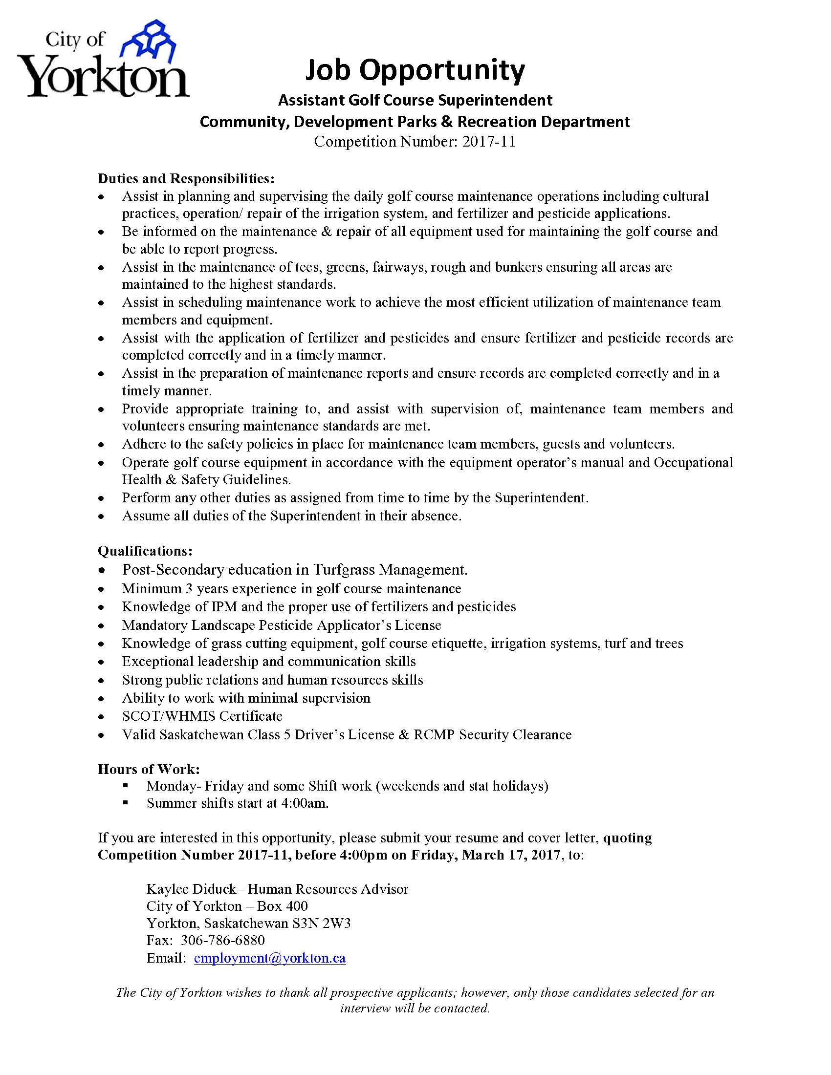 assistant golf course superintendent cover letter Check it out on golf course superintendents association of medinah country club golf course assistant superintendent please email cover letter and resumes.